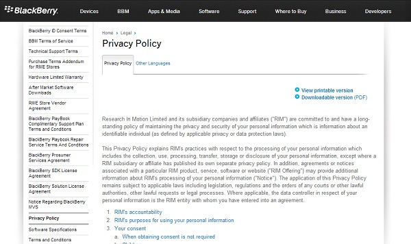 BlackBerry Privacy Policy