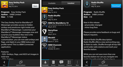 Beta Tests for Easy Smiley Pack and Radio Shuffle showing in the BlackBerry Beta Zone app on a BlackBerry Z10.