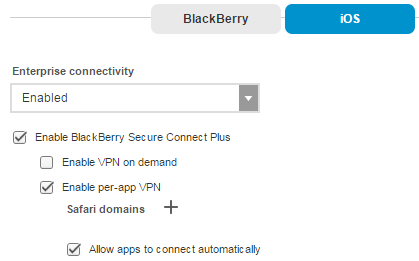 Overview of iOS Per-app VPN with BlackBerry Secure Connect Plus