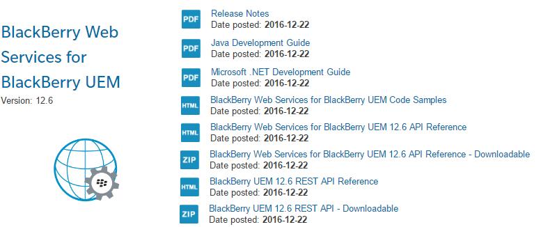 Updated Samples: BlackBerry UEM 12 6 Web Services
